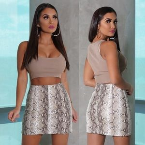 Taupe Snake Effect Faux Leather Mini Skirt